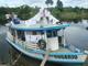 Barco utilizado pela Juventude Missionária durante a missão. Entre uma comunidade e outra aproveitavam para cozinhar, lavar a roupa e descansar.