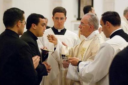 El Card. Claudio Hummes, prefecto de la Congregación para el Clero, reparte la comunión durante la misa.