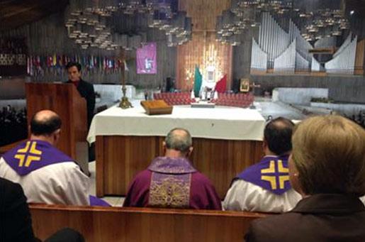El día después de su llegada a México, el Delegado Pontificio pudo visitar y celebrar la santa misa en la basílica de Guadalupe. Le acompañaron algunos legionarios y miembros consagrados.