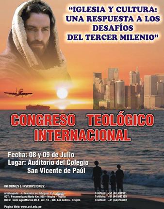 Poster promocional del congreso teológico internacional en Trujillo, Perú.