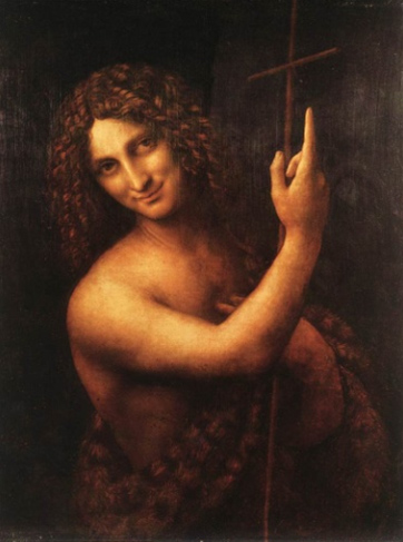 Di Vincis mysterious painting of John the Baptist pointing to the cross