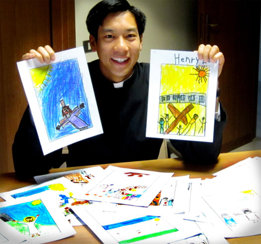 Br  Peter with some of the drawings