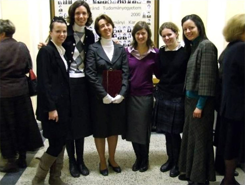 Ad&eacute;l with the consecrated team in Hungary.