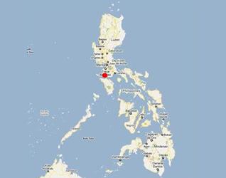 Mapa de las Islas Filipinas con la ubicación aproximada de la Isla de Tingloy.