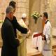 """Papa Francesco benedice il tabernacolo della chiesa """"Duc In Altum"""" del Magdala Center."""