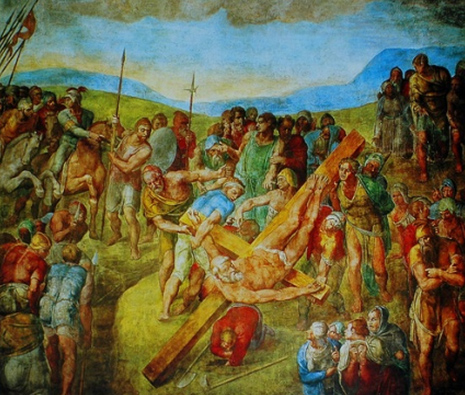 Michelangelos Crucifixion of St. Peter.  He painted this painting in the Pauline Chapel in Rome in response to a request by Pope Paul III, though Michelangelo was actually asked to paint St. Peter receiving the keys from Christ.