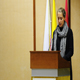 Melissa pronuncia il discorso di saluto nell'auditorium Giovanni Paolo II