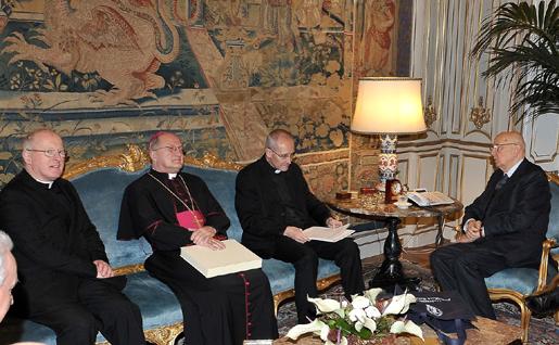 Incontro al Quirinale del Presidente della Repubblica Napolitano con i rettori delle università pontificie