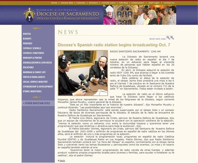 La sección de noticias de la diócesis de Sacramento, California, publicó una nota sobre la puesta en marcha de este nuevo proyecto de evangelización.