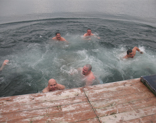 The dads take a brisk dip in 31 degree water