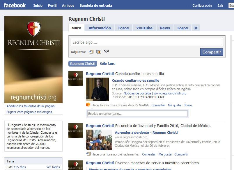Las noticias y material formativo de www.regnumchristi.org ahora también están en Facebook.