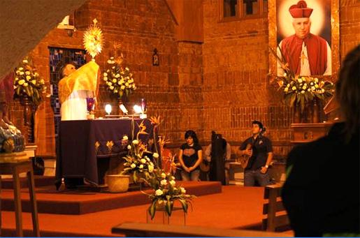 El P. Guillermo Romo, L.C. impartiendo la bendición con la Eucaristía.