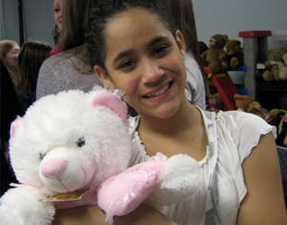 One of the children with her bear