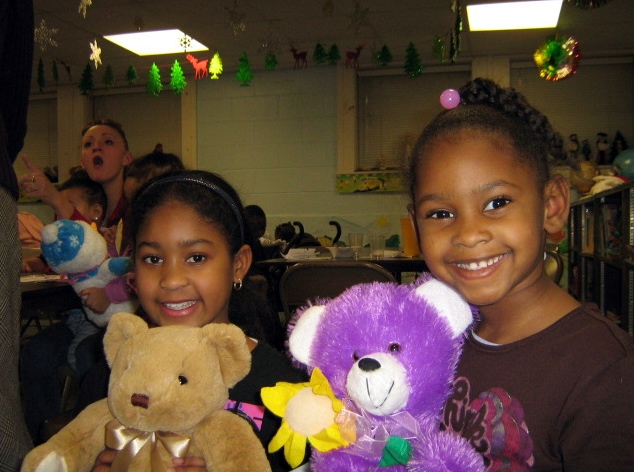 Happy kids with bears