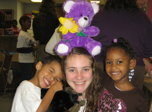 Challenge club member Kara O�Donnell with children