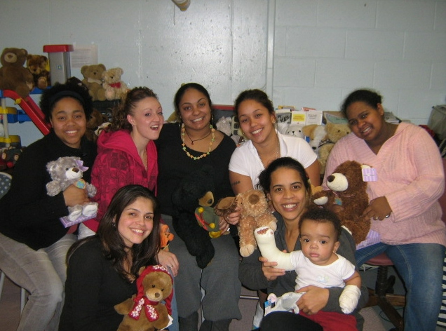 Group of grateful moms with bears