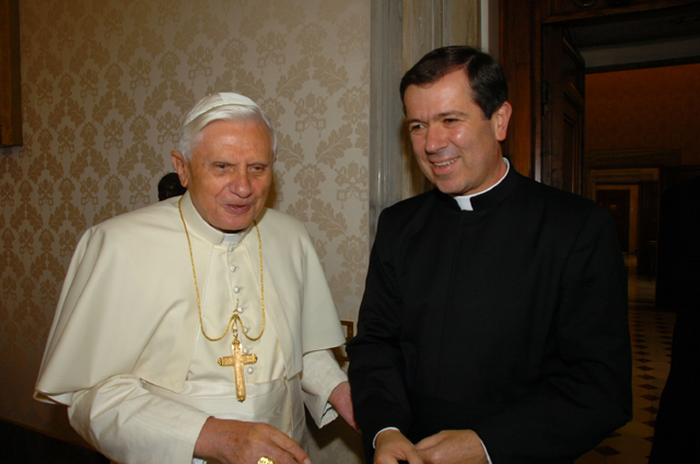 Father Alvaro Corcuera, general director of the Legionaries of Christ since January 2005, with Pope Benedict XVI.