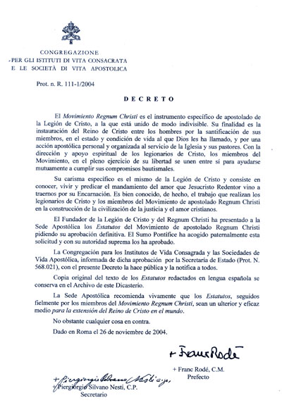 documento del Decreto de aprobacion del RC