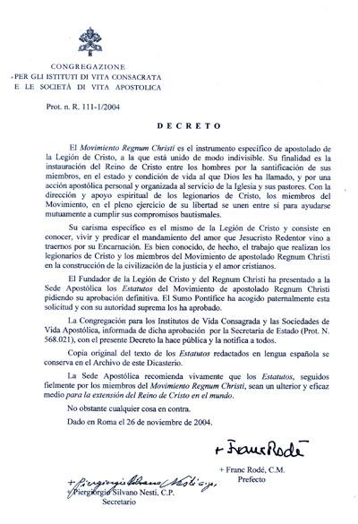 documento del Decreto de aprobacion del RC