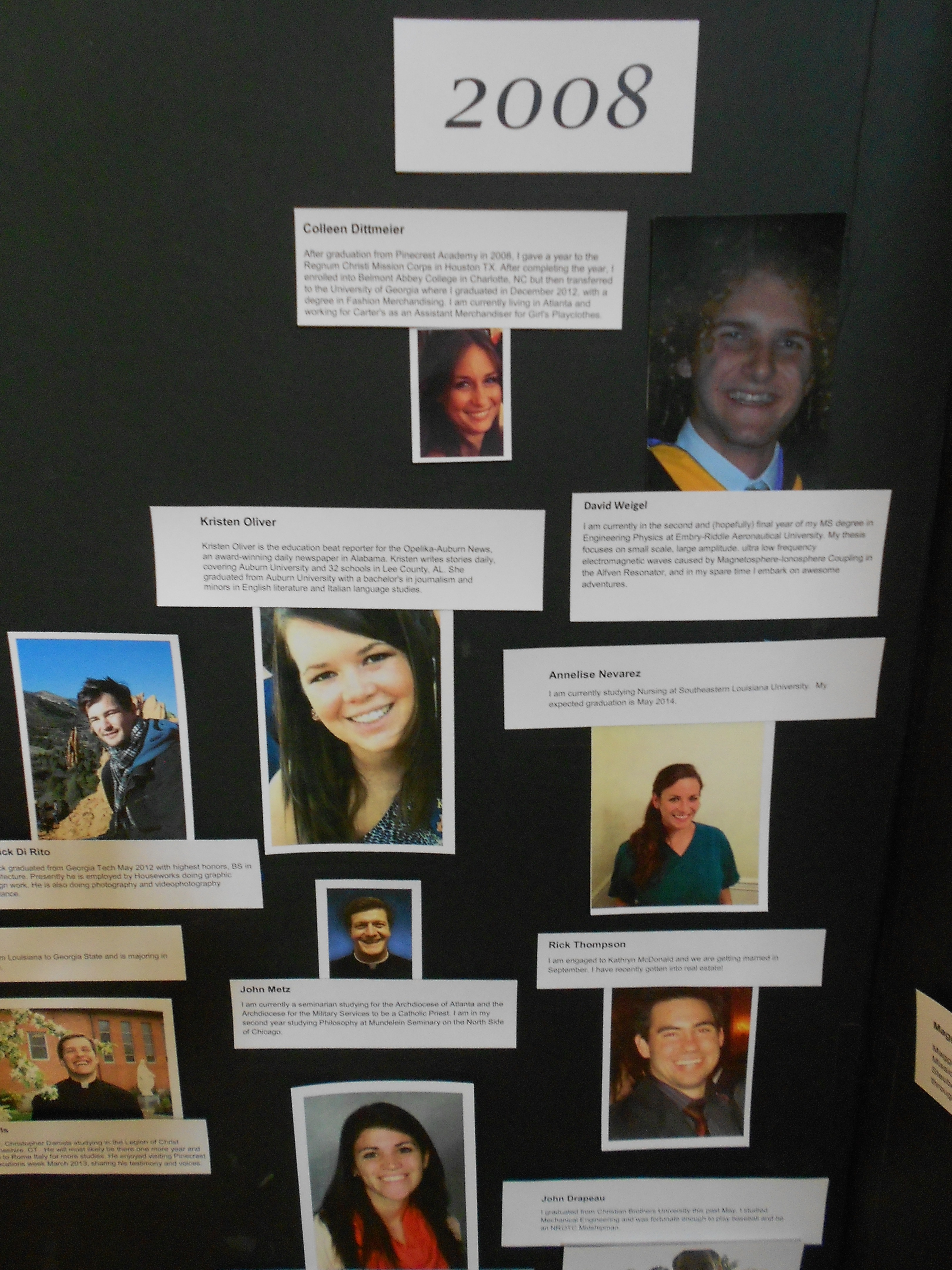Display board of leaders at Pinecrest anniversary museum.