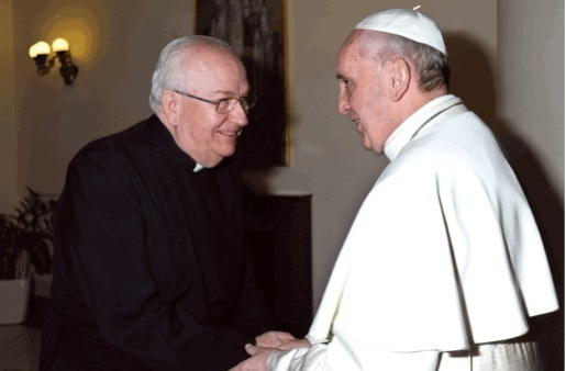 Bishop-elect Vergez with Pope Francis