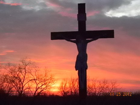 Crucifix at sundown