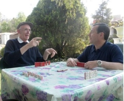 Fr. Fagan playing dominos