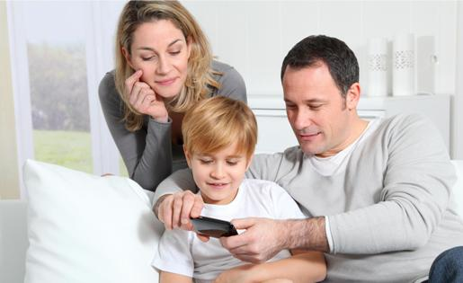 Family using smartphone