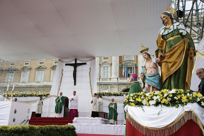 Pope celebrates Mass in Caserta, Italy