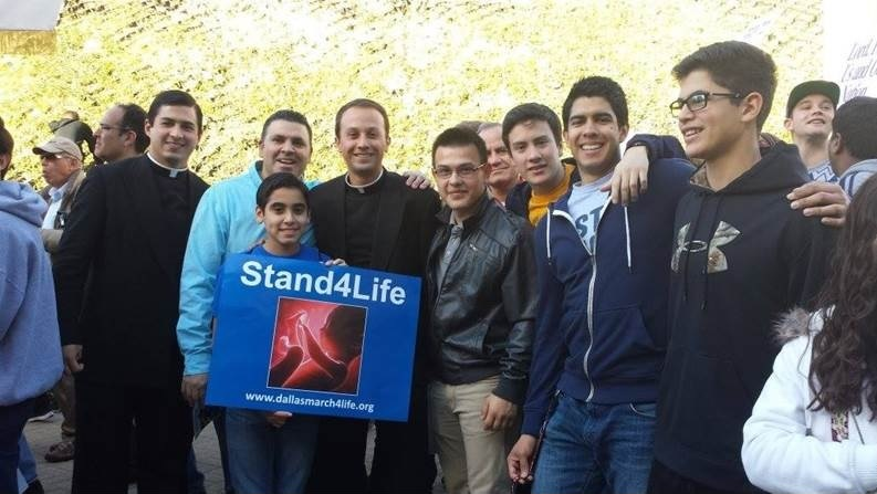 Br Jaime Cortez and Br Joaquin Sainz in the March for Life in Dallas.