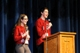 "MC's Michael Kenney and Irene Wilson lead the students in a shout out ""we will...REVIVE our culture!"""