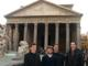 Deacon Mark Thelen, LC and Brother Andrew Gronotte, LC showing the Pantheon to two university students