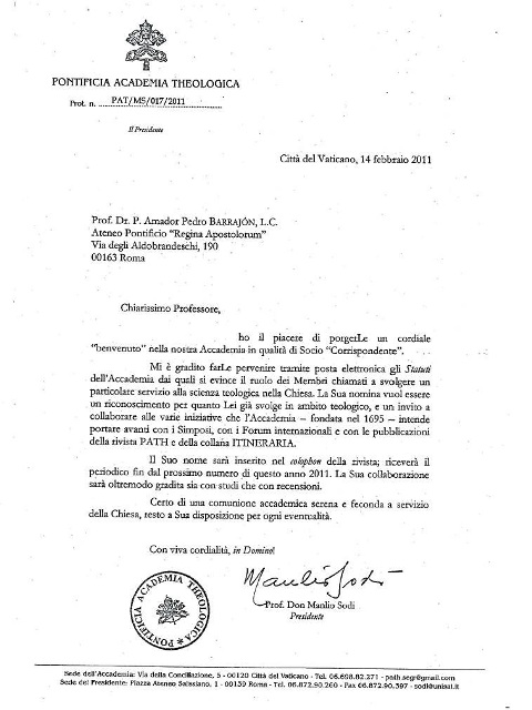 letter pontifical academy