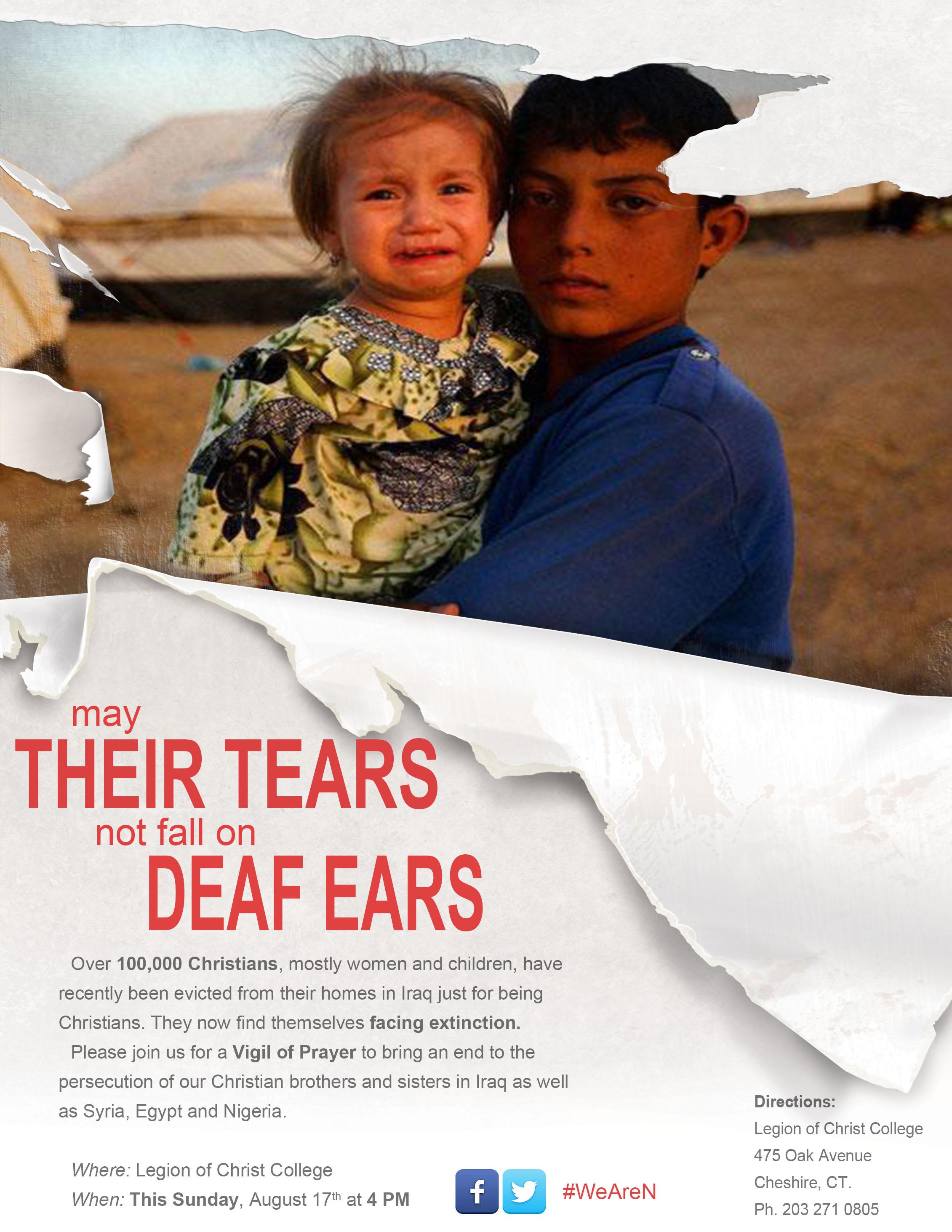 Poster promoting prayer vigil for Iraqi Christians.