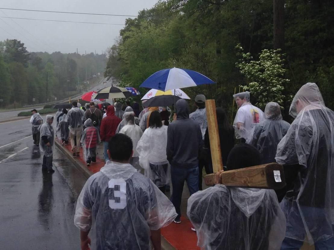 Braving the rain in Atlanta