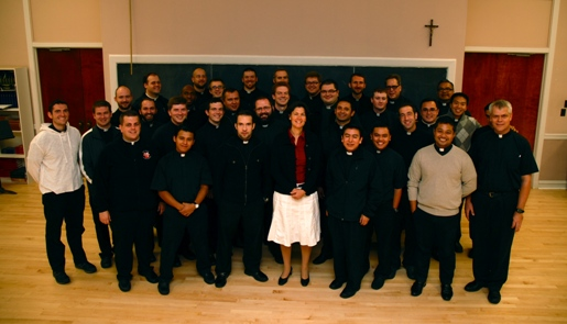 Patricia Klein and seminarians