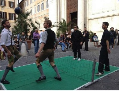 Seminarians playing foot tennis in Rome