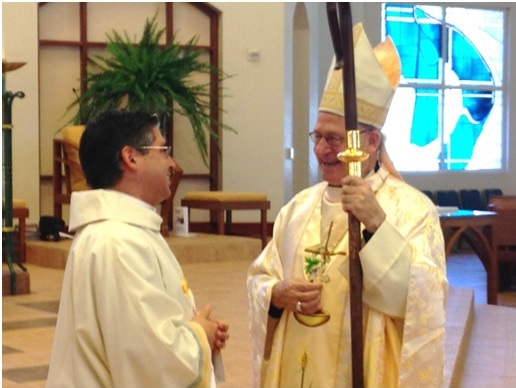 Deacon Joseph Poulin LC with Bishop Rutilio del Riego.