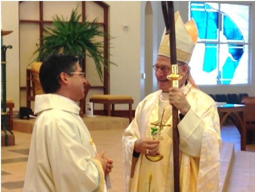 Deacon Joseph Poulin LC with Bishop Rutilio del Riego.