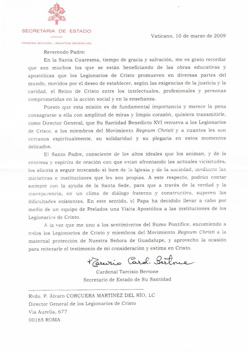 El Papa ha decidido llevar a cabo por medio de un equipo de Prelados una Visita Apostólica a las instituciones de los Legionarios de Cristo.