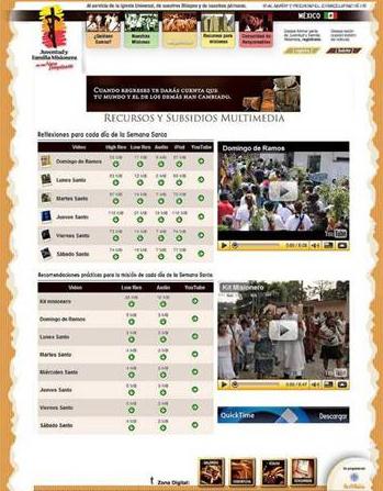 Portal de descarga de los subsidios para las misiones de Semana Santa.