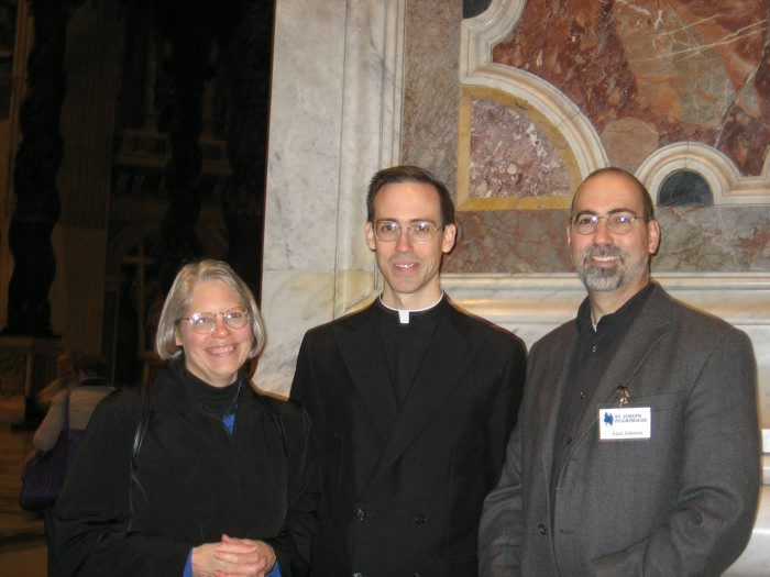 Fr. Shane with his parents, Alan and Cheryl Johnson, at St. Peter&acute;s Basilica.