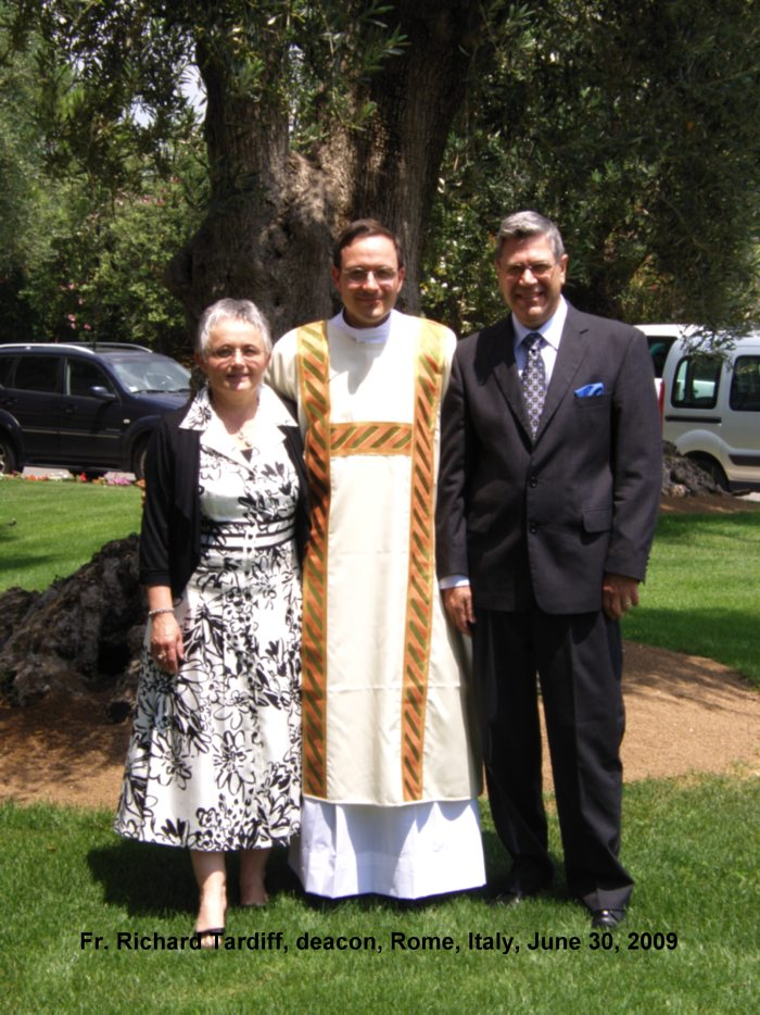 Fr. Richard with his parents on the day of his ordination to the diaconate, June 30, 2009.